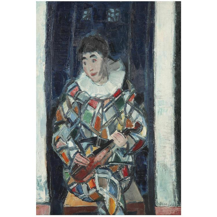 André Brasilier (1929). L''arlequin. Oil on canvas; signed lower right. 25 5/8 x 18 1/8 in.