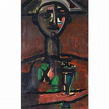 René Portocarrero (1912-1985). Arlequin, 1959. Oil on cardboard; signed and dated