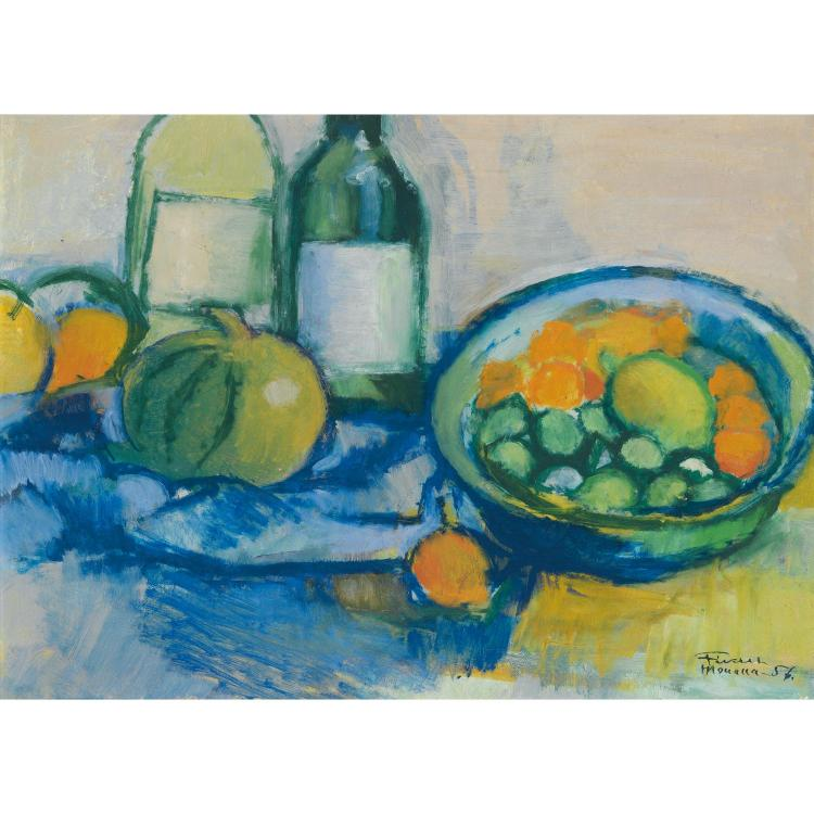 Fikret Mualla (1903-1967). Nature morte, 1956. Oil on carboard; signed and dated lower right. 12 15/16 x 16 1/8 in.