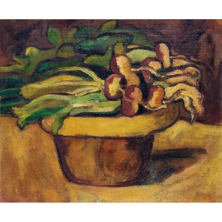 LOUIS VALTAT (1861-1952). Nature morte. Oil on canvas; signed with the monogram lower right. 17 11/16 x 22 1/4 in.