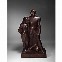 JOSEPH CSAKY (1888-1971). ADAM ET ÈVE, 1933. Important sculpture bronze patina brown; signed, stamped workshop CSAKY (A.C) and founder