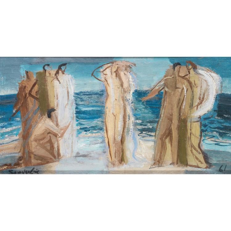 JEAN SOUVERBIE (1891-1981). La naissance de Vénus, 1961. Oil on panel; signed lower left; dated