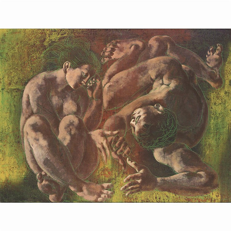 ƒHans ERNI (1909-2015). Le couple, 1959. Oil on canvas; signed and dated