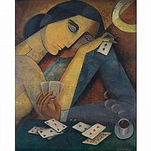 Aurel Richter (1870-1957). Jeune femme aux cartes. Oil on paper glued on canvas; signed lower right. 21 7/8 x 18 1/8 in.