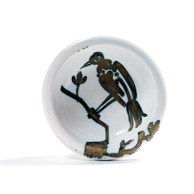Pablo Picasso (1881-1973). Oiseau sur la branche. Partially glazed ceramic ashtray; stamped and marked . ''Edition Picasso/Madoura Plein