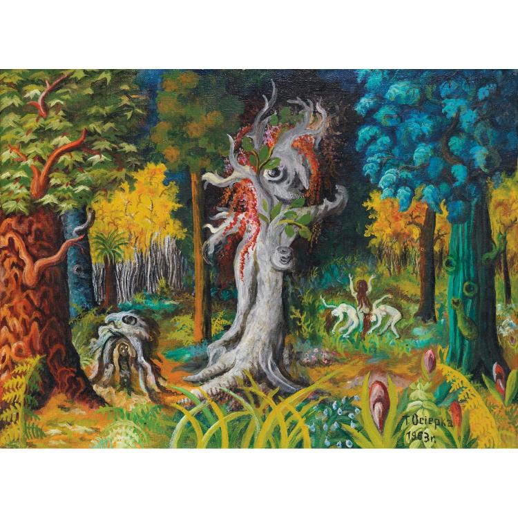 Teofil Ociepka (1891-1978). l'ésprit de la Forêt, 1963. Oil on canvas; signed and dated lower right. 17 1/2 x 23 7/16 in.