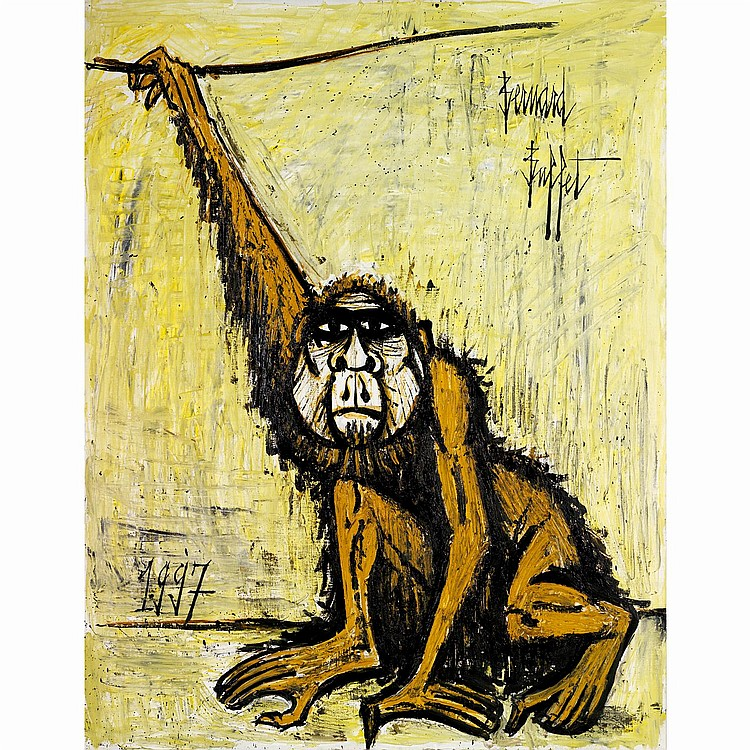 Bernard Buffet (1928-1999). Le singe, 1997. Oil on canvas; signed upper right; dated lower left. Inscribed with the Galerie Maurice Gar