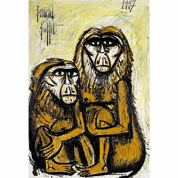 Bernard Buffet (1928-1999). Deux Macaques, 1997ROil on canvas, signed upper left; dated upper right. Inscribed with the Galerie Mauric