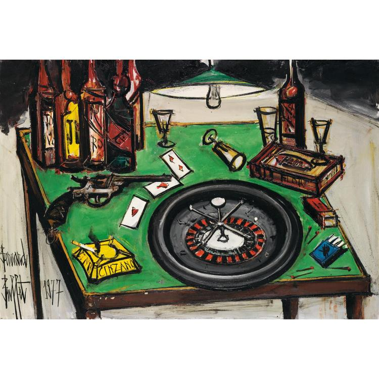 Bernard Buffet (1928-1999). Table à jeu, 1977. Oil on canvas; signed and dated lower left. 35 7/16 x 51 3/16 in.