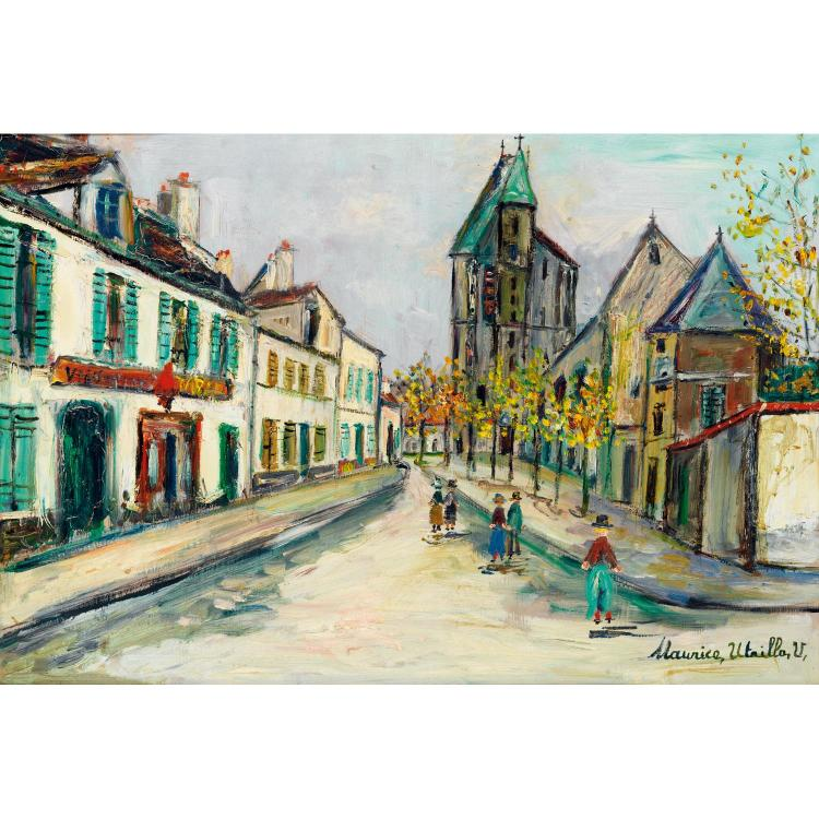 ƒMaurice Utrillo (1883-1955). Rue de banlieue, 1948. Oil on panel; signed lower right. 14 9/16 x 21 1/4 in.