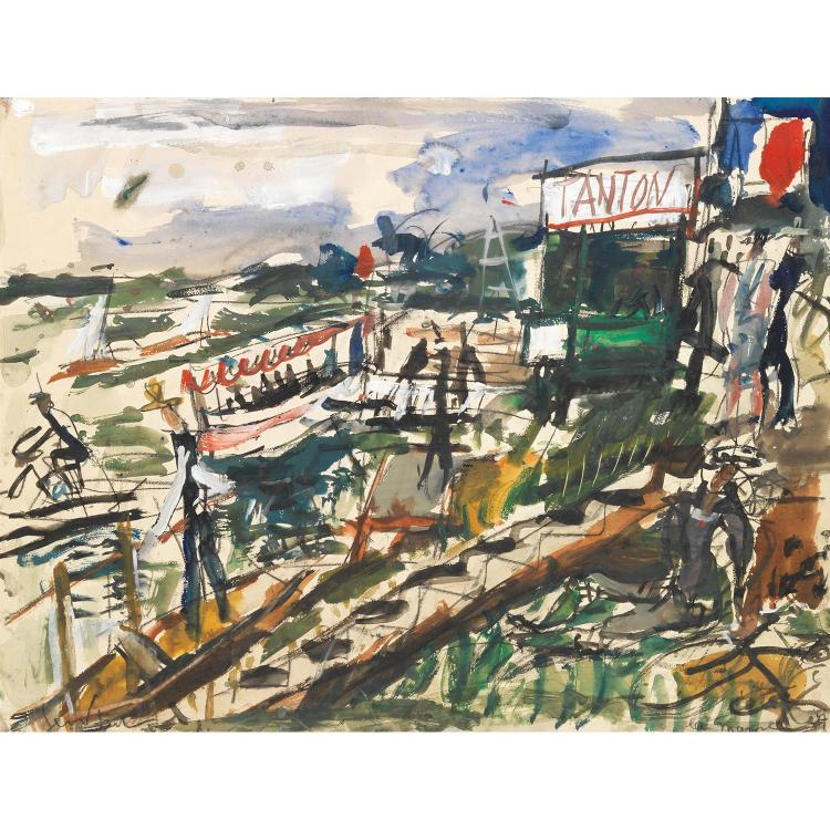 GEN PAUL (EUGENE PAUL DIT) (1895-1975). Chez Tanton, 1927. Gouache, watercolour and charcoal on paper; signed lower left; situated