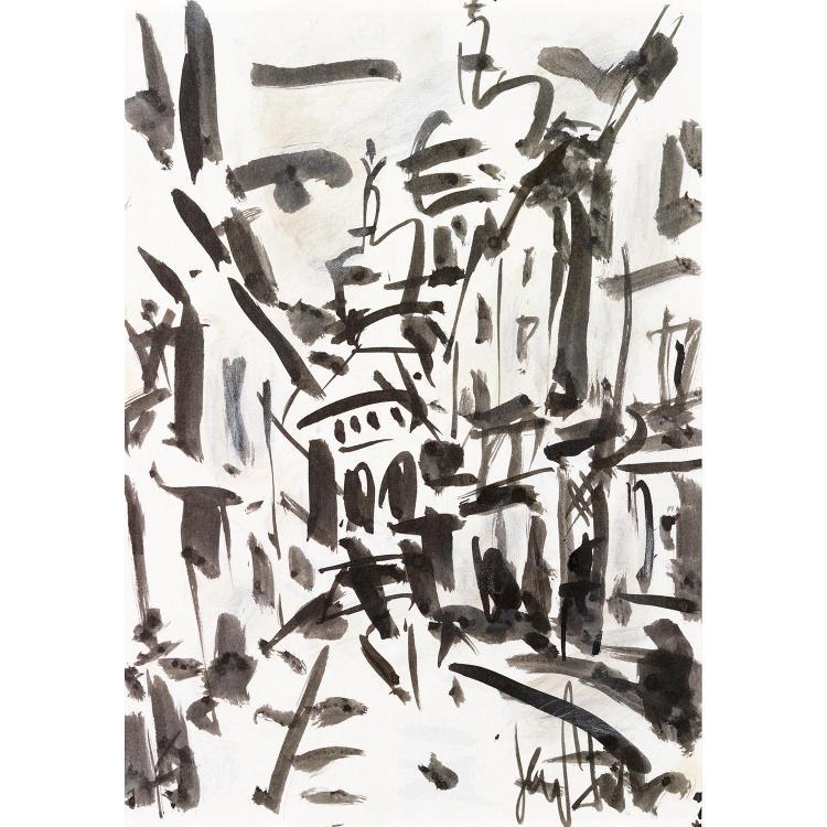 GEN PAUL (EUGENE PAUL DIT) (1895-1975). Vue du sacré coeur. Inkwash on paper; signed lower right. 11 3/8 x 8 1/4 in.
