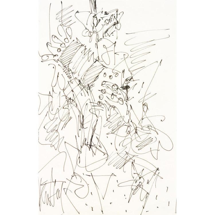 GEN PAUL (EUGENE PAUL DIT) (1895-1975). Le clown accordéoniste. Ink on paper; signed lower left. 15 1/2 x 9 13/16 in.