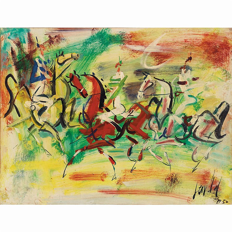 GEN PAUL (EUGENE PAUL DIT) (1895-1975). Les cavaliers, 1950. Oil on canvas; signed and dated lower right. 19 11/16 x 25 5/8 in.