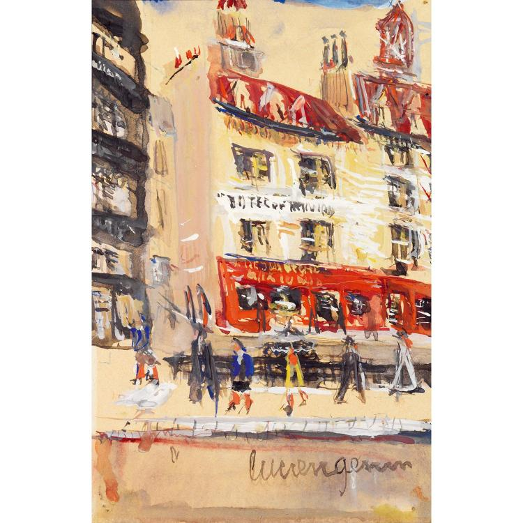 LUCIEN GENIN (1894-1953). Rue à Montmartre. Watercolour on paper; signed lower right. 7 7/8 x 5 1/8 in.