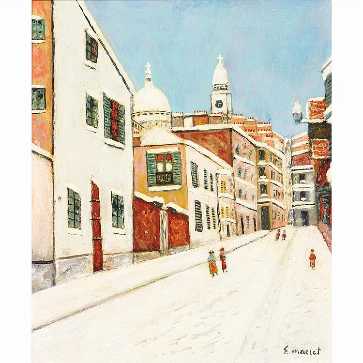 Élisée Maclet (1881-1962). Montmartre sous la neige. Oil on panel; signed lower right. 14 3/16 x 12 3/16 in.