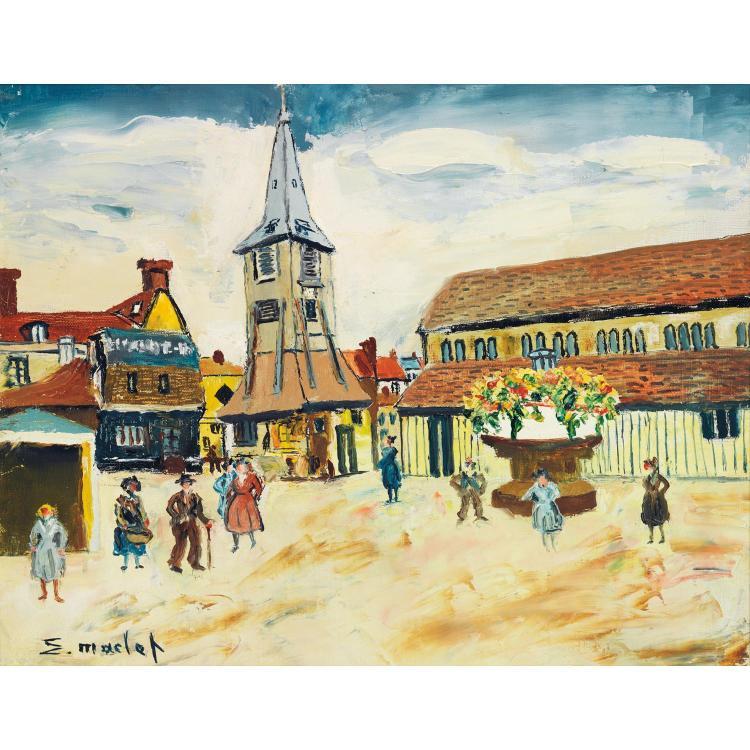 ÉLISÉE MACLET (1881-1962).  LA PLACE DU VILLAGE.  Oil on canvas; signed lower left.  13 x 16 1/8 in.