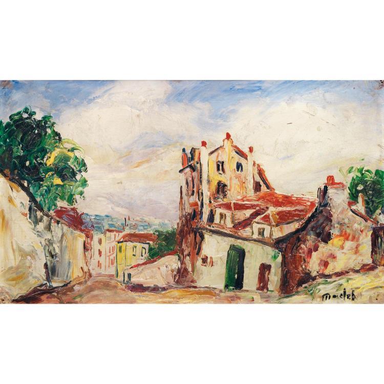 ÉLISÉE MACLET (1881-1962). MAISON DE MIMI PINSON, MONTMARTRE. Oil on panel; signed lower right. 11 x 18 7/8 in.