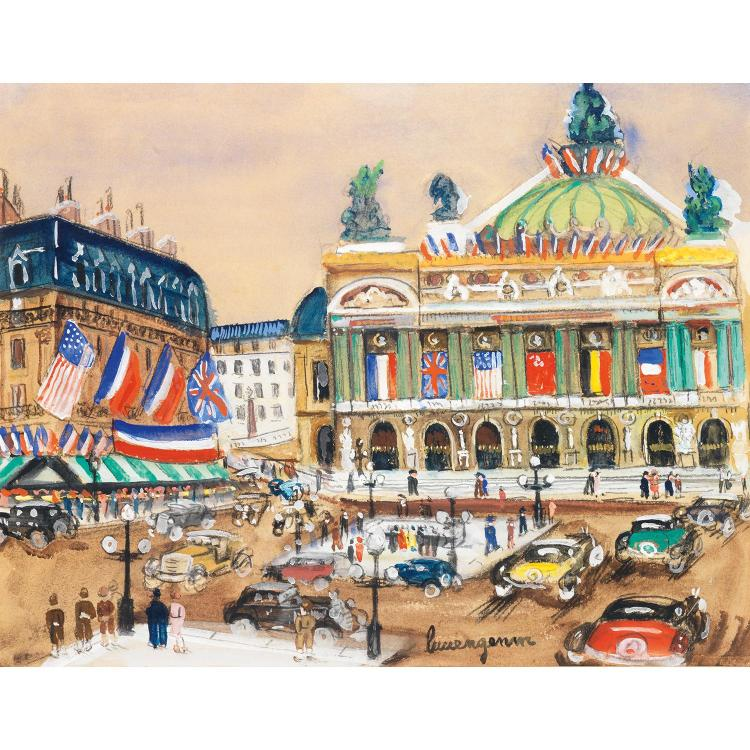 Lucien Genin (1894-1958). L''opéra. Gouache, watercolour and charcoal on paper; . signed lower right.  12 3/16 x 15 3/4 in.