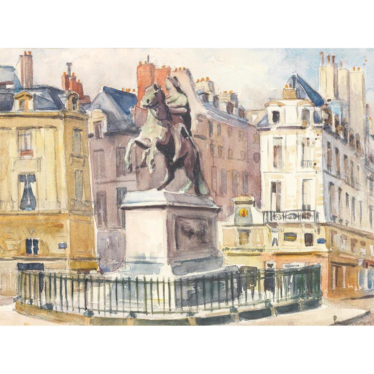 LUCIEN GENIN (1894-1953). La statue équestre de Louis XIV, place des Victoires à Paris. Watercolour on paper; signed lower right. 9 13