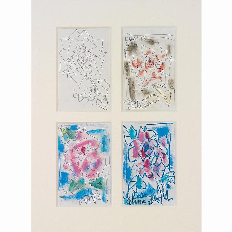 GEN PAUL (EUGENE PAUL DIT) (1895-1975). 4 Roses. 4 drawings of roses in the same frame; crayolors and . ink on paper; signed and dedica