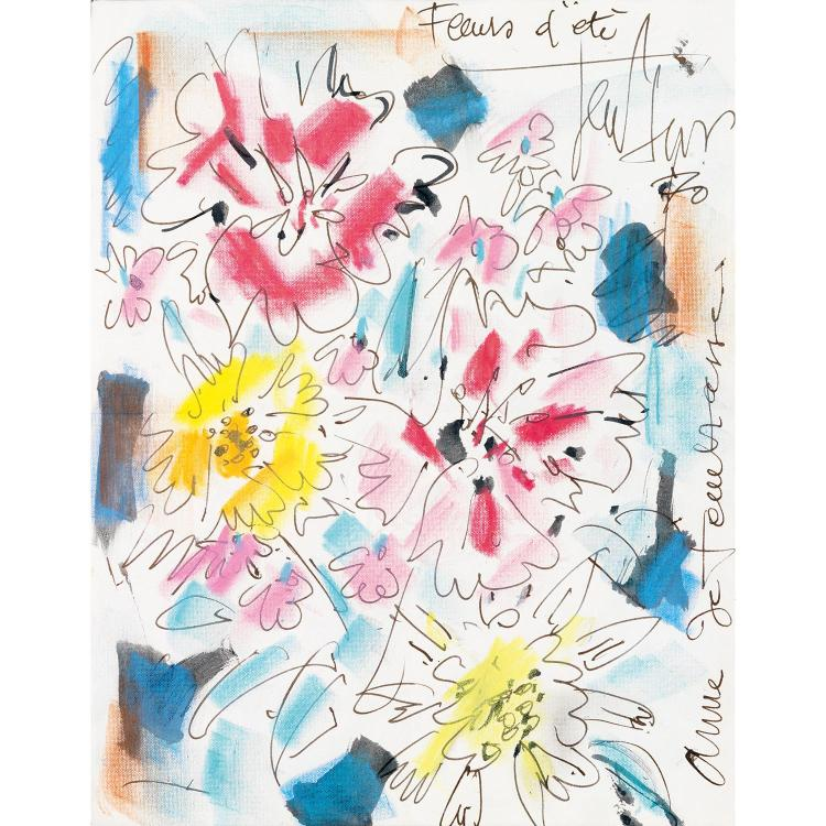 GEN PAUL (EUGENE PAUL DIT) (1895-1975). Fleurs d''été. Crayolors and ink on paper; signed and titled upper right; . dedicated