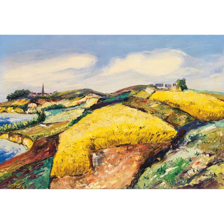 ƒElisée MACLET (1881-1962). Champs de blés en bord de mer, sur fond de clocher. Oil on canvas; signed lower right. 19 11/16 x 29 1/8 in