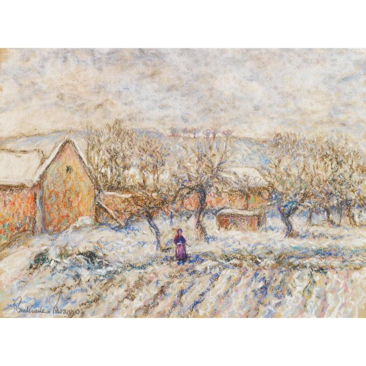 Paul Émile Pissarro (1884-1972). Paysages de neige. Pair of pastel on panel; signed lower left. 8 7/8 x 11/16 in. each