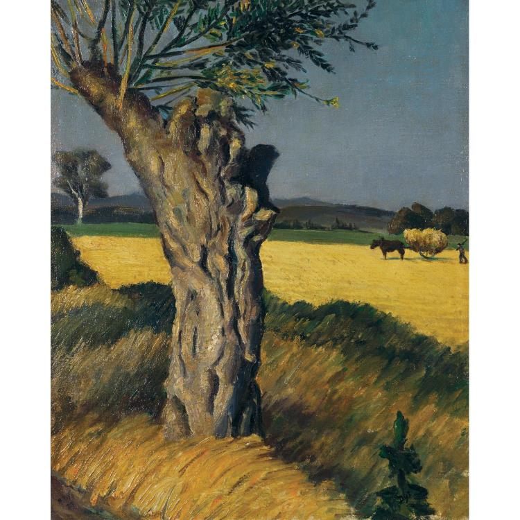 Marcel Dyf (1899-1985). Arbre dans les champs. Oil on canvas, signed lower right. 23 3/16 x 18 7/8 in.