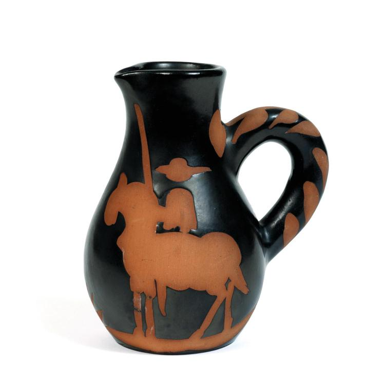 Pablo Picasso (1881-1973). Le picador. Painted and partially glazed ceramic pitcher; edition of 500; inscribed