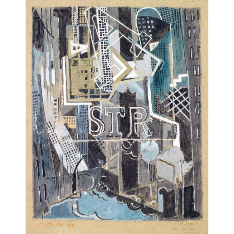 ALBERT GLEIZES (1881-1953). DOWN TOWN, 1916. Gouache and pencil on paper; Signed and dated lower right; Titled, situated and dated on t