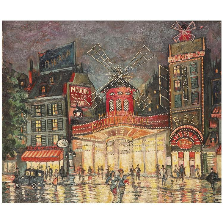 Alexei Konstantinovich Korovin (1897-1950). Le moulin rouge. Oil on canvas; signed lower right. 18 1/8 x 21 5/8 in.