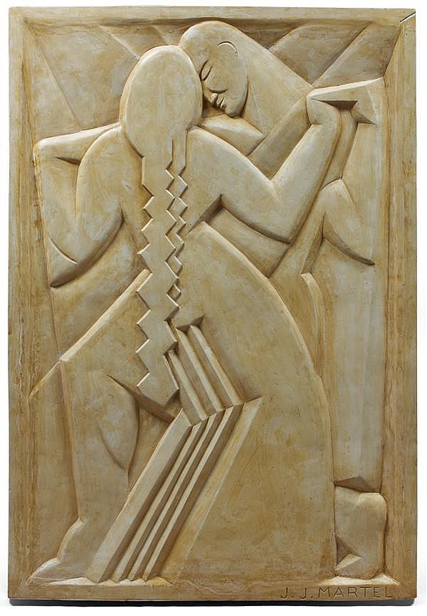 Jan & Joël MARTEL (1896-1966) Grand panneau décoratif en staff, plâtre d'atelier,