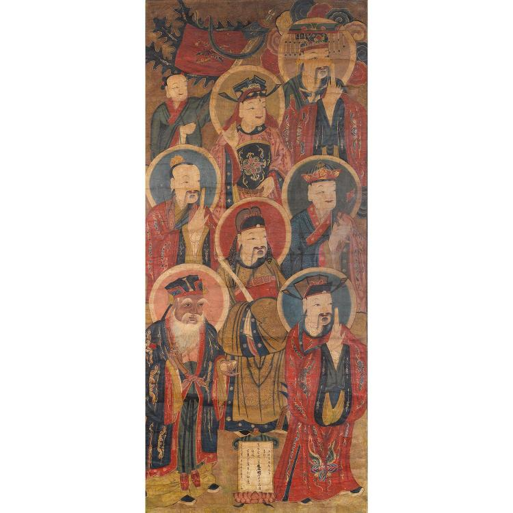 PEINTURE VERTICALE à l''encre et polychromie sur papier, représentant un panthéon taoïste composé de sept divinités abritées par un s...