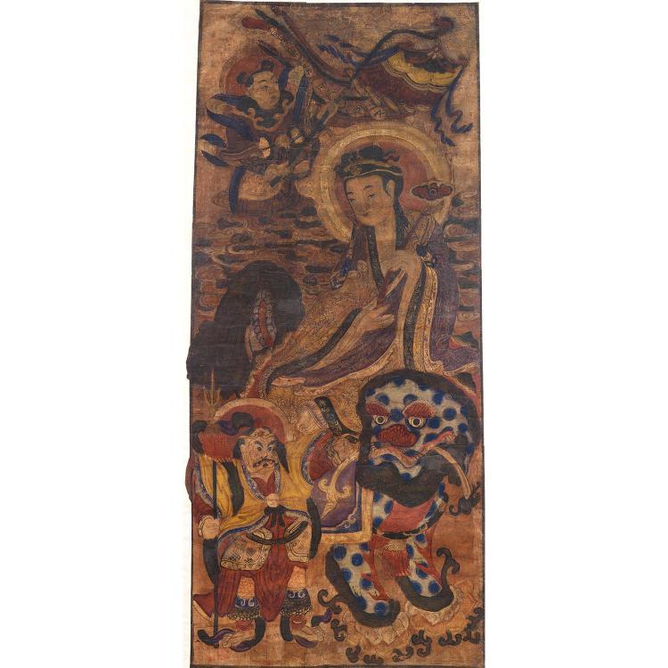 PEINTURE VERTICALE à l''encre et polychromie sur papier, représentant la déesse Kannon assise en lalitasana sur le lion bouddhique en...