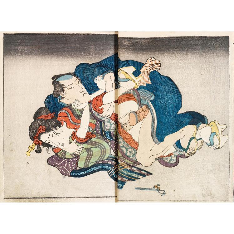 SUITE DE TROIS ALBUMS SHUNGA dont deux d''une même série, en sumi-e, le troisième illustré de cinq scènes nishiki-e en double-page.