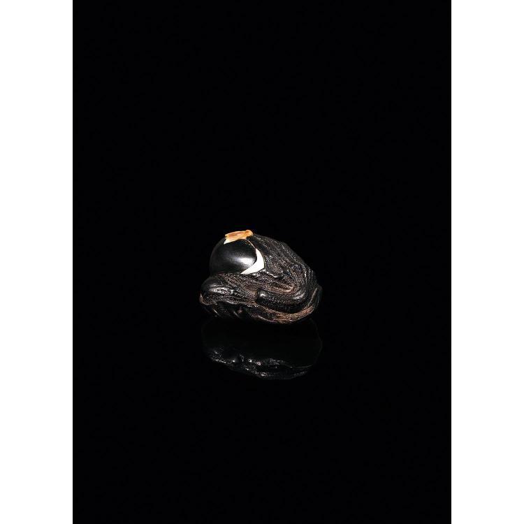 NETSUKE en bois sombre, en forme de deux aubergines accostées, une mouche en nacre incrustée sur la plus grande. Signé Minko dans un...