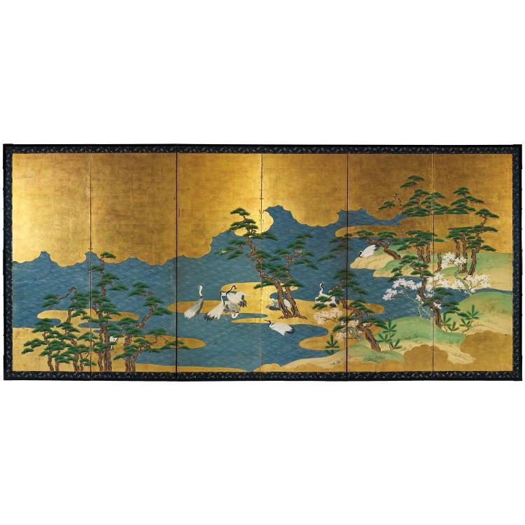 GRAND PARAVENT À SIX FEUILLES BYOBU à l'encre, polychromie et dorure sur papier, à décor de grues à couronne rouge (katakana) dans u...