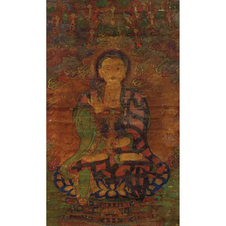 PEINTURE VERTICALE EN ROULEAU à l''encre et polychromie sur papier, représentant le Bouddha Shakyamuni, assis en vajrasana sur le lot...
