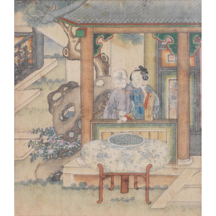 PETITE PEINTURE PRESQUE CARRÉE à l''encre et couleurs légères sur soie, représentant une scène romanesque animée d''un couple d''amoure...