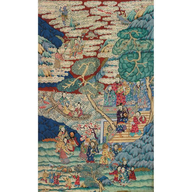 GRAND PANNEAU VERTICAL en tapisserie de soie, dite