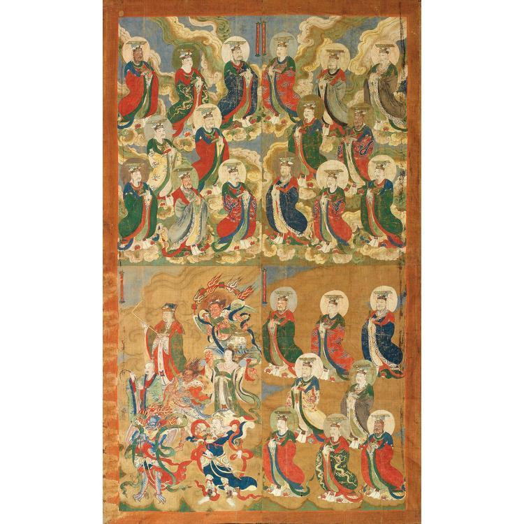 TRÈS GRANDE PEINTURE TAOÏSTE QUADRIPARTITE à l''encre et polychromie sur toile libre, de forme rectangulaire, représentant des divini...