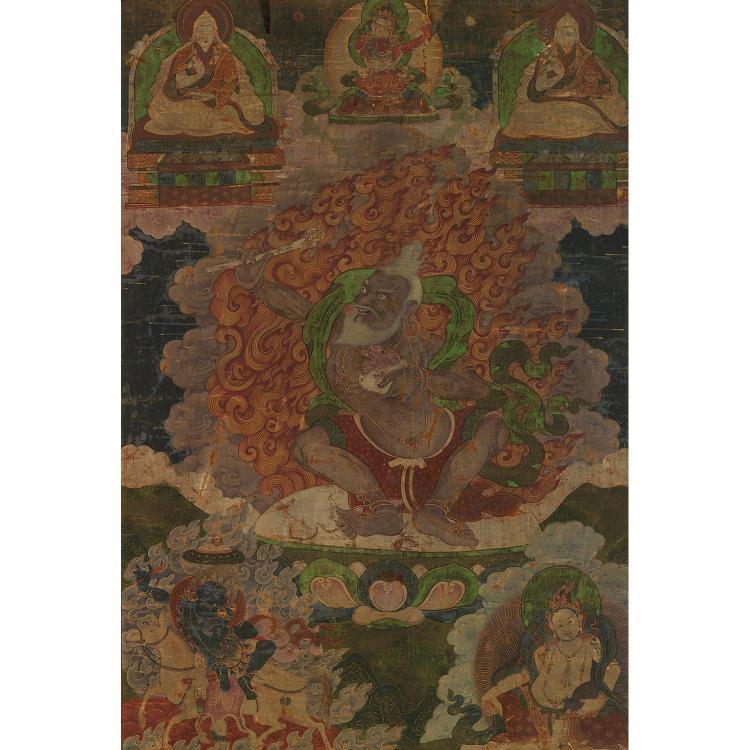 BEAU THANGKA peint à l''encre, polychromie sur toile et rehauts de dorure, représentant Mahasiddha accroupi, le kapala et la trompe k...