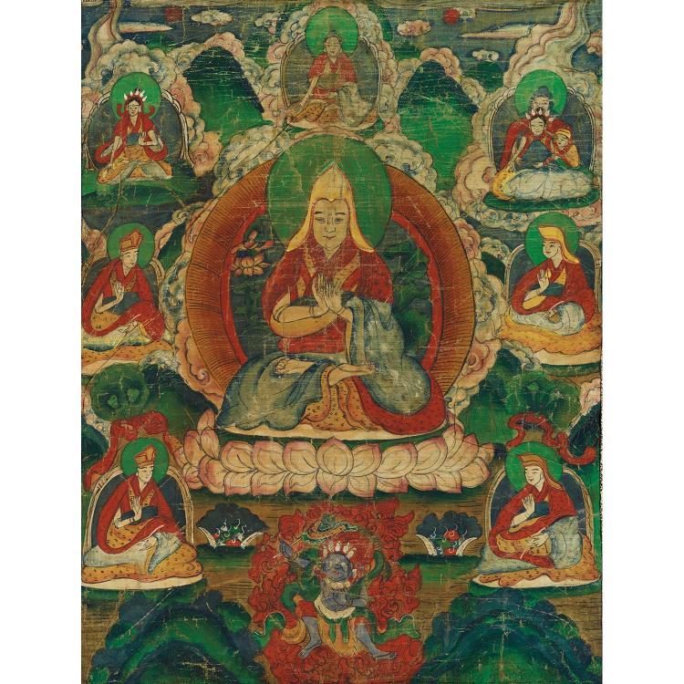 THANGKA peint à l''encre et polychromie sur toile, de forme rectangulaire, représentant Tsongkhapa assis sur le lotus, les mains en d...