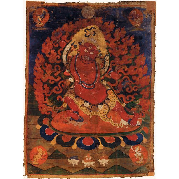 THANGKA à l''encre et polychromie sur toile, de forme rectangulaire, représentant, parmi des divinités secondaires, une divinité faro...