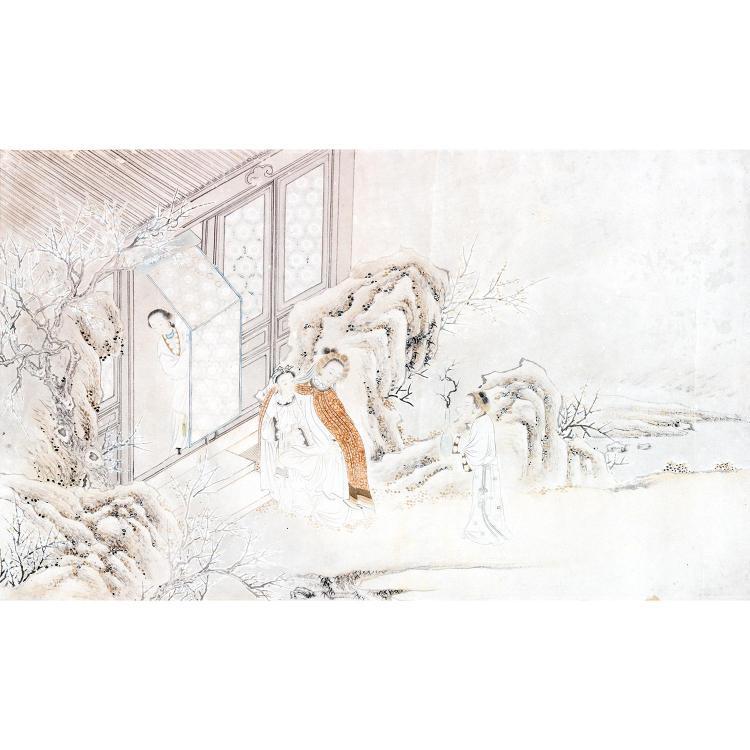 SUITE DE QUATRE PEINTURES HORIZONTALES à l''encre et couleurs légères sur papier, représentant quatre scènes romanesques extraites de...