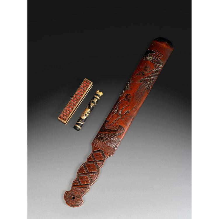 A bamboo armrest, Chine, dynastie Qing, vers 1900, H. 42 cm (16 1/2 in.)