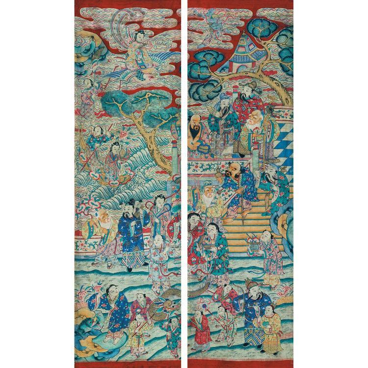 GRAND PANNEAU VERTICAL DIVISÉ EN DEUX PANNEAUX ÉTROITS en tapisserie de soie, dite