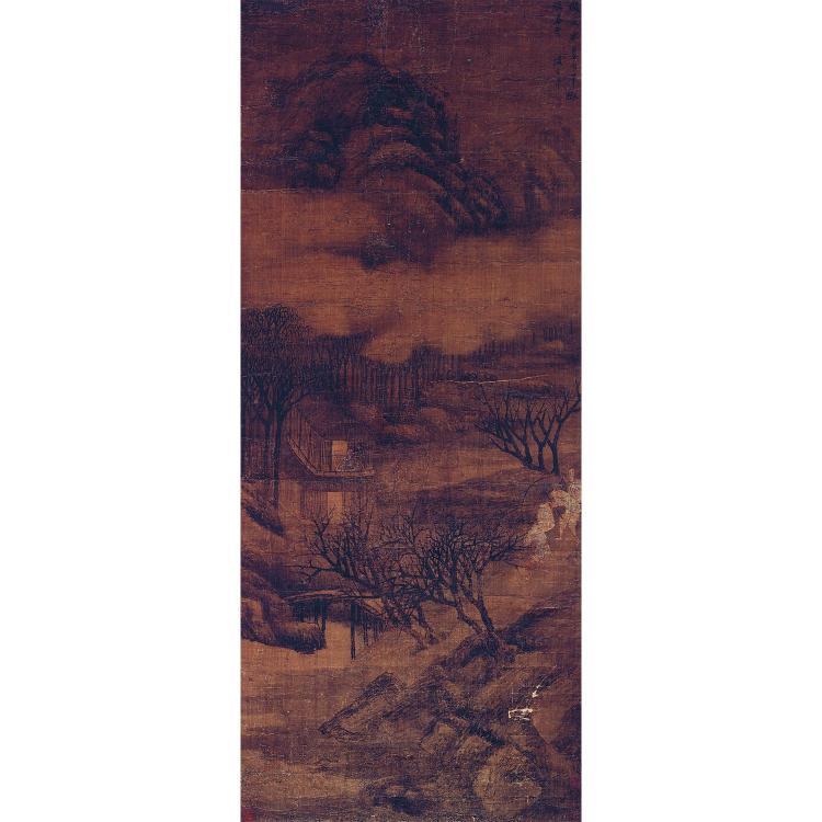 GRANDE PEINTURE VERTICALE EN ROULEAU D''APRÈS SHENG MAOYE à l''encre et légers rehauts de polychromie sur soie, représentant un paysag...