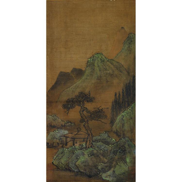 PEINTURE VERTICALE EN ROULEAU à l''encre et polychromie sur soie, représentant un paysage de montagne animé d''un personnage. Cachets ...